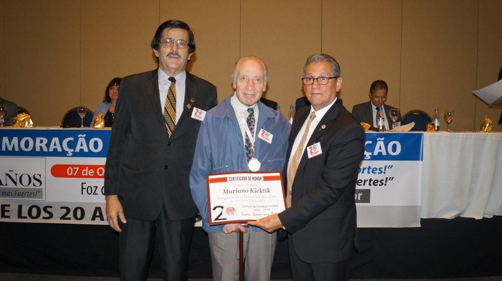 Mariano Kiektik, integrante da FATN, um dos mais antigos entre os homenageados